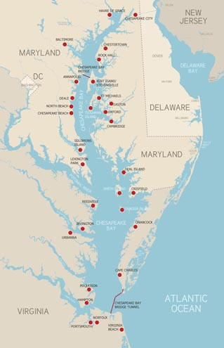 There are lots of wonderful places to visit around the Chesapeake Bay region. Urban areas and small towns ... mainly lots of small towns! All of these places have rich history and scenic beauty in common. Plan a vacation or day trip to any of the destinations below to enjoy the Chesapeake Bay experience.