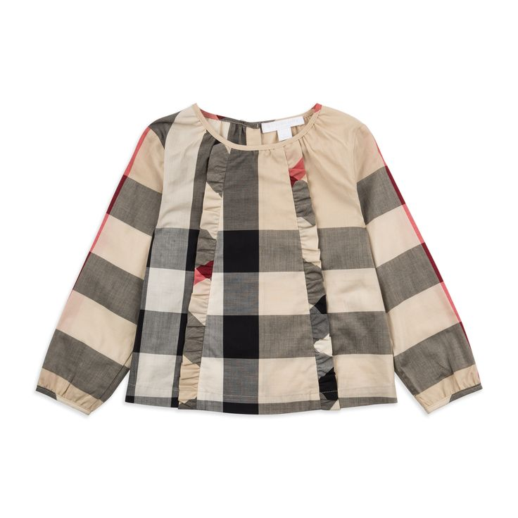 BURBERRY Baby Girls 'Mini Aggatha' Blouse - Beige Baby long sleeve blouse • Soft lightweight cotton • Round neckline • Reverse button fastening • Elasticated cuffs • Check ruffle pleats • Material: 100% Cotton • Code: BLINGO