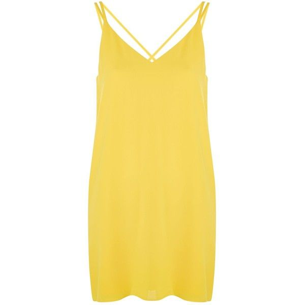 Topshop Petite Cross Strap Slip Dress (209065 PYG) ❤ liked on Polyvore featuring dresses, yellow, plunge dress, v-neck dresses, yellow dress, strappy dress and plunging v neck dress