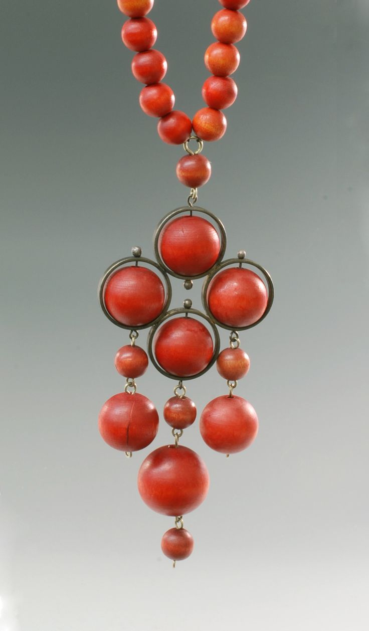 Aarikka, Finland Red Pendant and Earrings