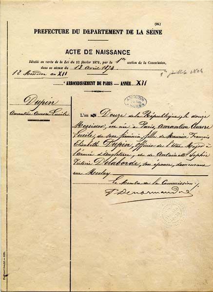 Acte de naissance de George Sand