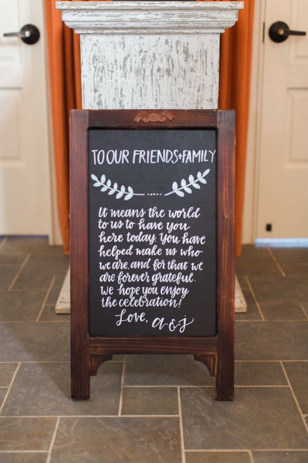 Cute chalkboard welcome sign: http://www.stylemepretty.com/2015/08/13/rustic-elegant-spring-wedding-at-early-mountain-vineyards/ | Photography: Abby Grace http://abbygracephotography.com/