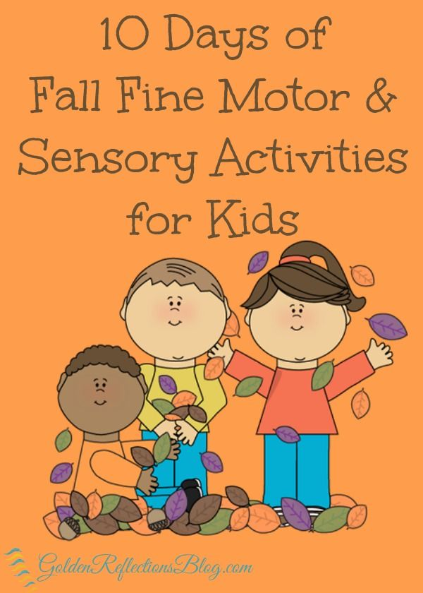A 10 day series with great ideas for fall fine motor and sensory activities for kids of all ages   www.GoldenReflectionsBlog.com