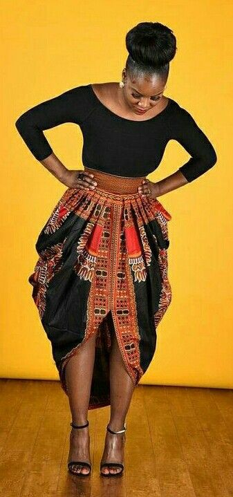 ♡African print dashiki Harem skirt. Pleated front and back waist with invisible back zipper. Excellent fit