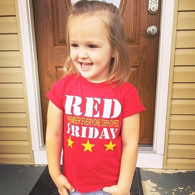 Toddler RED Friday shirt www.halfpintcuties.com