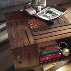 DIY Vintage Wine Crate Coffee Table.