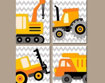 CONSTRUCTION Wall Art Trucks CANVAS or Prints Boy par TRMdesign