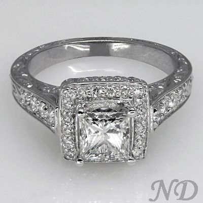 Antique Inspired Princess Cut Engagement Ring