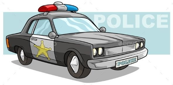 Cartoon Black Police Car With Golden Badge With Images Police