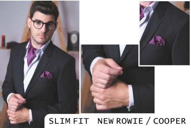 NEW ROWIE / COOPER | Seroussi -producător și distribuitor de costume bărbătești: Slim Fit, accesorizat cu ascot si batista mov din matase SLim Fit business suit accessorized with purple silk ascot and pocket-square