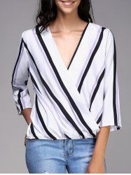Stylish Plunging Neck Striped 3/4 Sleeve Top For Women www.rosegal.com