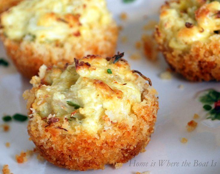 Parmesan crusted crab cake bites, make-ahead appetizer