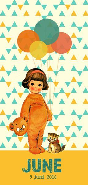 Geboortekaartje June - Pimpelpluis - https://www.facebook.com/pages/Pimpelpluis/188675421305550?ref=hl (# retro - meisje - verkleden - beer - poes - kat - ballon - vintage - paper doll - lief - schattig - origineel)