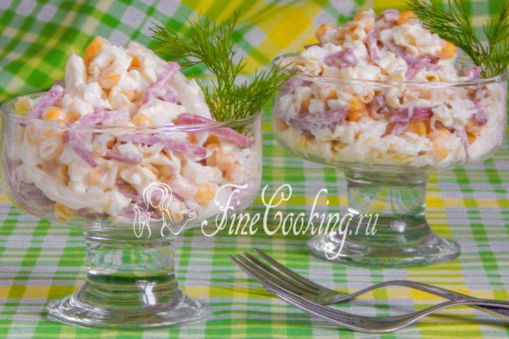 Салат с пекинской капустой и копченой колбасой
