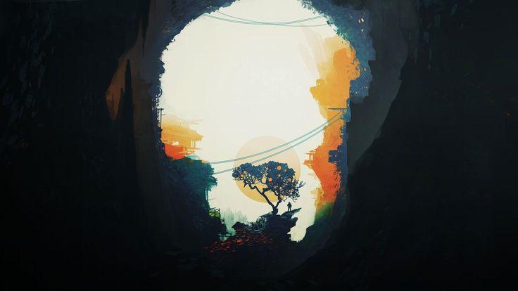 Обои пещера, солнце, дерево, дом, человек на рабочий стол