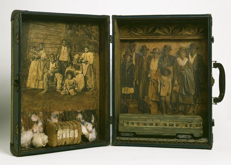 """""""Migration: South to North"""" by Betye Saar, 2006, mixed media assemblage with vintage suitcase"""