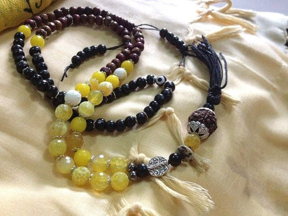 Pasupatinath Naga Yogi 108 Bead Lemon Peel Agate, Rudraksha Yoga Mala   - 3 days left to order in time for xmas delivery <3 shop for good karma supports my work in rural india.