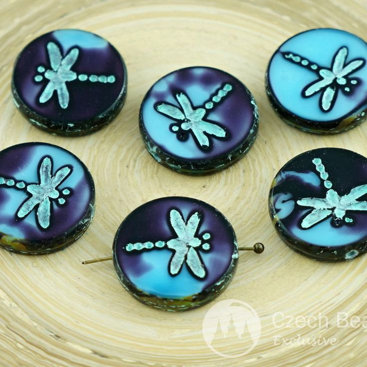 Turquoise / Picasso Flat Carved Table Cut Dragonfly Beads / Round Coin