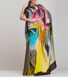 Yellow, Grey And Green Silk Saree