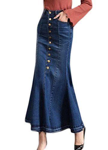 8ed7d9b07 Papijam Women's Casual Button Down High Waist Fishtail Maxi Denim Skirts  Blue Large
