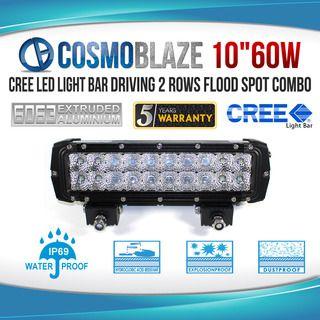 "Cosmoblaze 10"" 60W CREE LED Light Bar Driving WORK FLOOD SPOT COMBO 4WD 6063 AL"