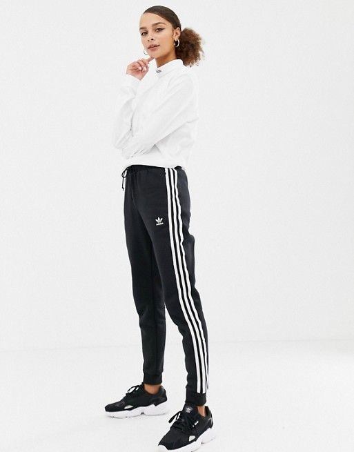 eb6bb99b0604f adidas Originals Three Stripe Cuffed Sweat Pants In Black | xmas ...