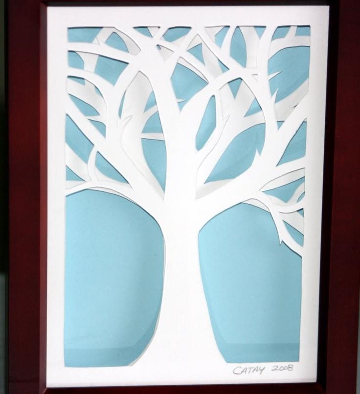 Solitary Winter Tree - Framed Cut Paper Art Illustration Sculpture