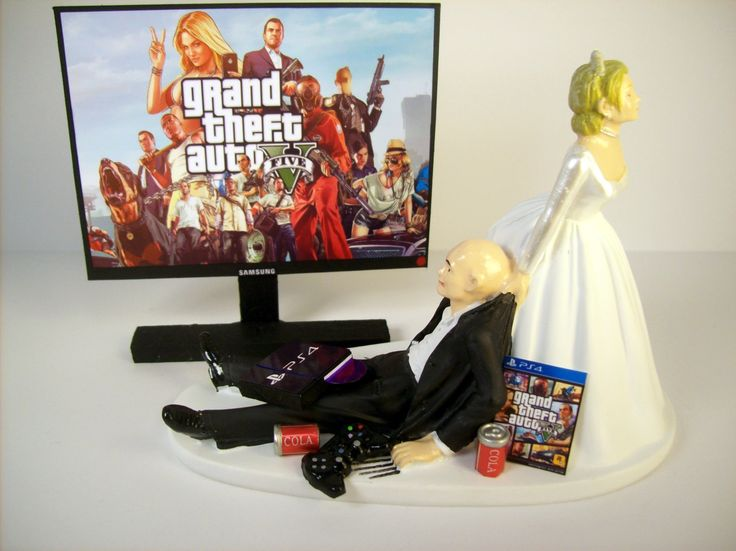 Wedding Cake Topper Custom GTA 5 GAME Video Gamer Xbox One/PS4 BALD Funny Groom's Cake