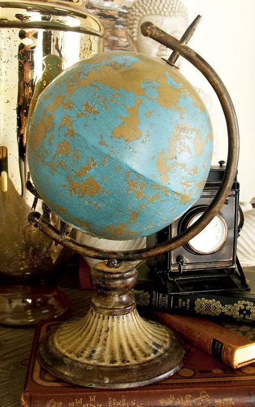 Tan Globe With Distressed And Led Turquoise Paint Finish Tarnished Aged Iron Curved Bar Ball Bed Meridian Arrow Tip Tail