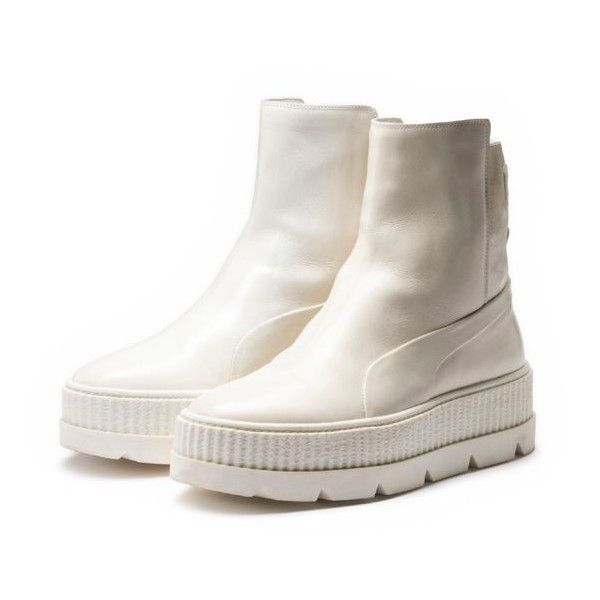 FENTY Women's Chelsea Sneaker Boot ❤ liked on Polyvore featuring shoes, boots, puma creeper, platform chelsea boots, platform shoes, leather chelsea boots and puma boots