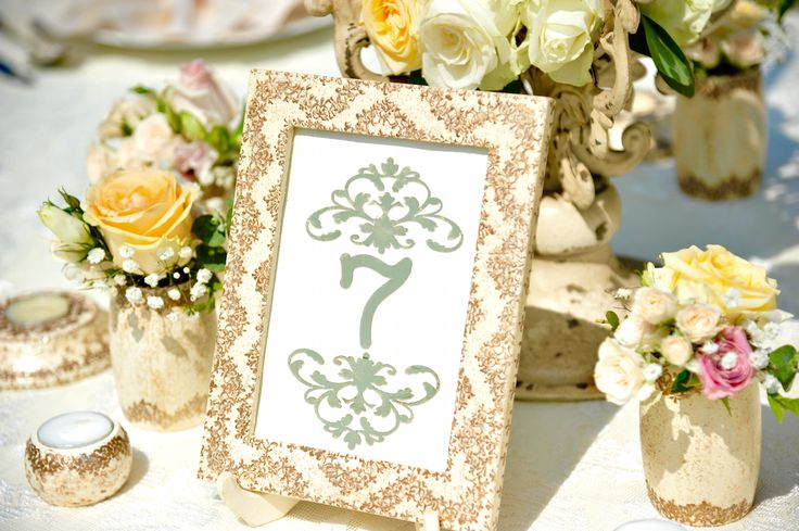 Victorian Glamour Wedding Decor - Gold & Ivory - Elegant, Antique, Vintage, Handpainted, Handmade -Table Setting, Table Number - by Satori Art & Event Design