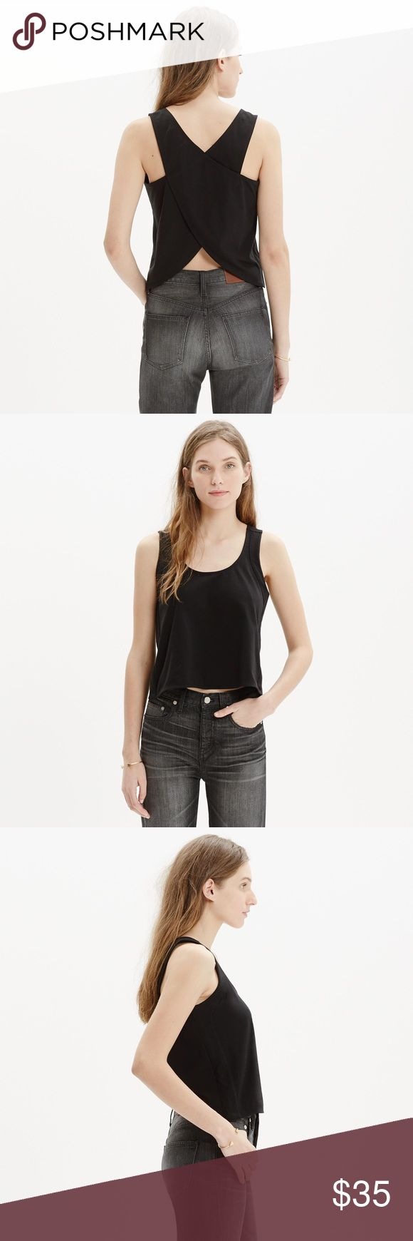 Madewell // cross-back crop tank A cropped tank top with a crossover back detail that flashes a hint of skin. Simple meets sexy.    Cropped fit. Size small. Excellent pre-owned condition, no flaws. Sold out online, highly rated. Cotton. Machine wash. Import. Item C3976. Madewell Tops Crop Tops