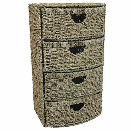 JVL 4 Drawer Bow Front Natural Seagrass Bathroom Cabinet Chest Storage Unit