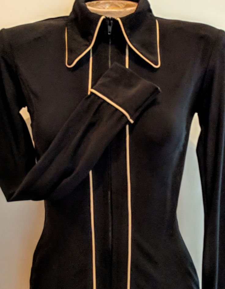 Show Diva Designs Our black lycra plain fitted shirt with taupe piping. Sizes small to 3XL. Made in the USA showdivadesigns.com