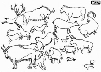 Free printable art activity: Use natural pigments or pastels in natural tones to color these rock paintings representing the animals they hunted. Prehistory cave painting coloring page