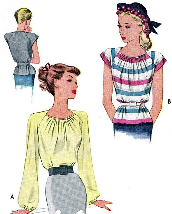 1940s Womens Blouse Pattern McCall 6475 Raglan Sleeve Peplum Blouse Gathered Neckline Long or Short Sleeves Vintage Sewing Pattern Bust 32