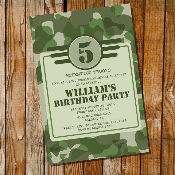 Army Party Invitation  Army Camo  Instantly by SunshineParties, $5.00