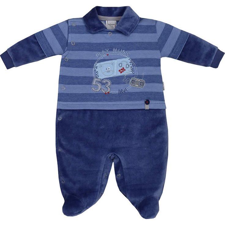 Macacão Recém Nascido e Bebê Menino em Plush Listrado Azul - Sonho Mágico :: 764 Kids | Roupa bebê e infantil