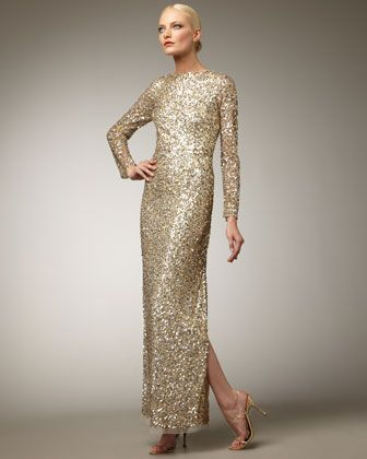 I really am growing more and more impressed with Aidan Mattox. What about this long sleeve sequin gown for the MOB or MOG? Black tie wedding of course.