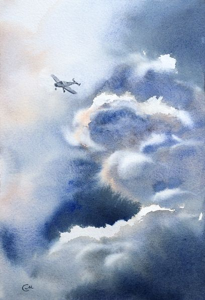 Airplane in Stormy Sky Painting