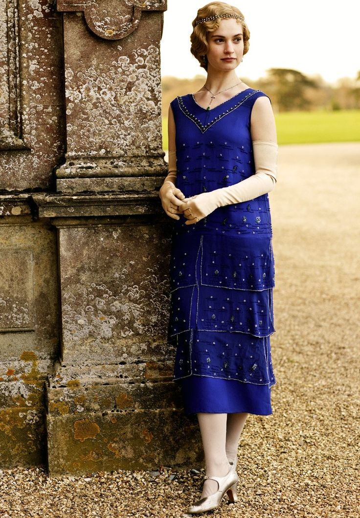 Lady Rose in a rich, beautiful royal blue dress. #DowntonAbbey, fashion, great tv, stylish, elegant, female beauty, portrait, photo