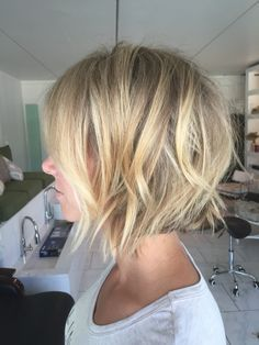 Nice golden blonde balayage on a bob, some sections lighter/brighter than I would probably want to go.