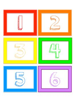 This is a set of cards for numbers 1 - 30. Use the cards to display numbers 1 -30 in the classroom or use them to label book boxes, cubbies, etc. Cards can also be used for sequencing activities in a math station. Each card is outlined (red, orange, yellow, green, blue, purple, pink) in an ABCDEFG pattern.