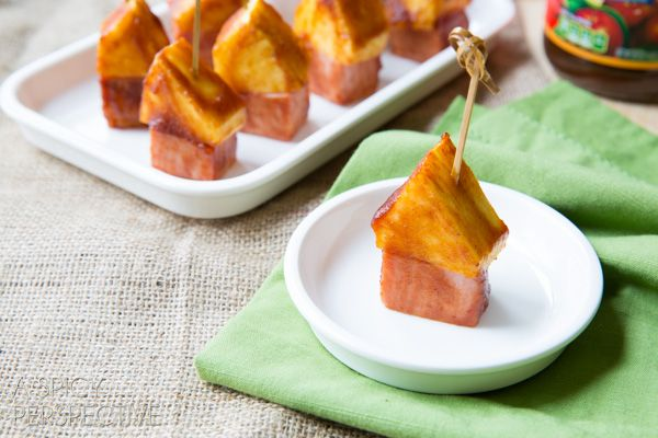 BBQ Sauce Glazed Pineapple Ham Picks