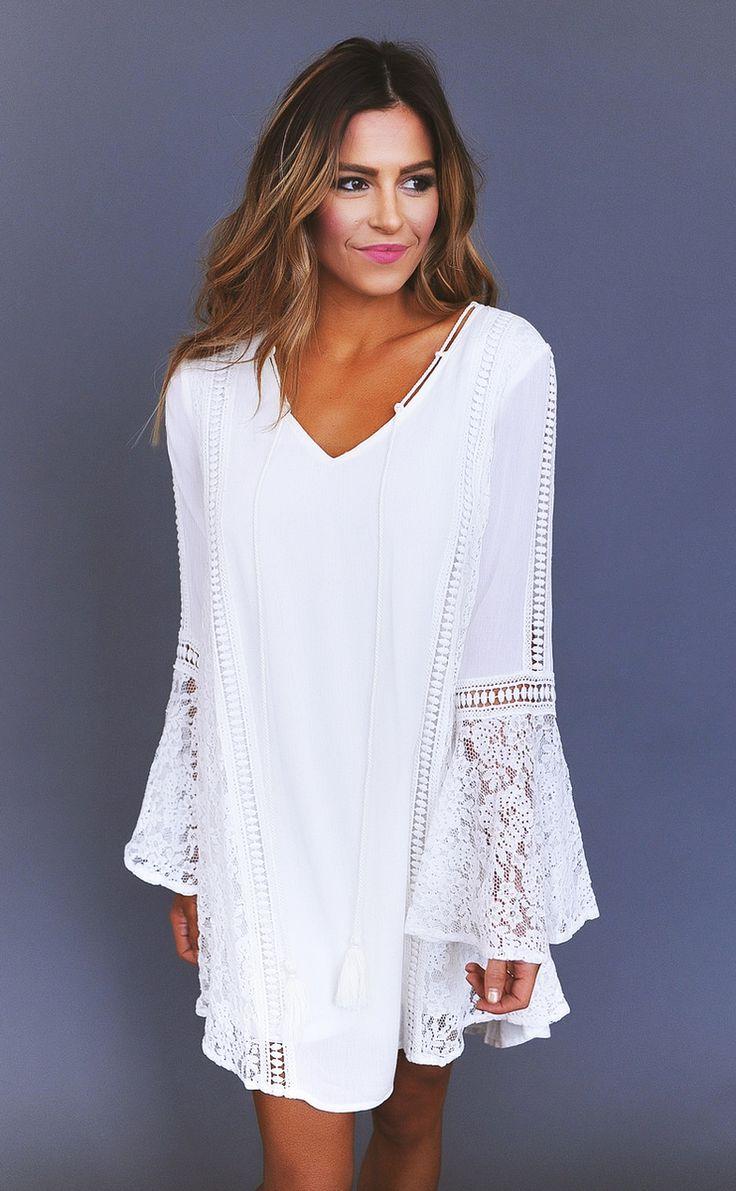 Ivory Crochet Detail Tie Front Dress - Dottie Couture Boutique