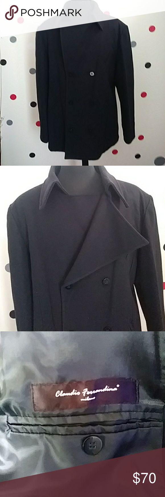 Men's Claudio Ferrandina Milano Pea Coat Wool Black Pea Coat made in Italy Claudio Ferrandina  Jackets & Coats Pea Coats