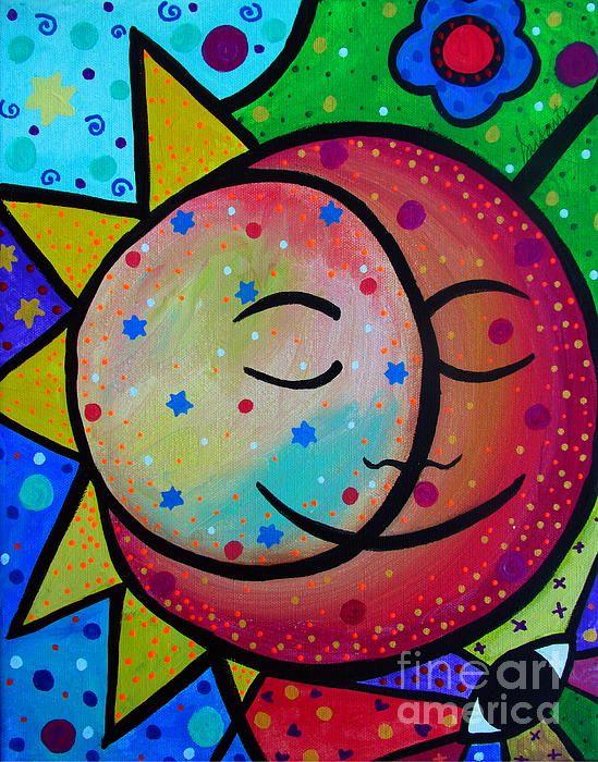 Sun and Moon Couple. Folk Art Painting, celestial, stars, eye, evil eye, protect, couples for christ, original painting for sale