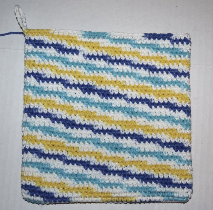 right side out diagonal stripe hot pad-double thickness