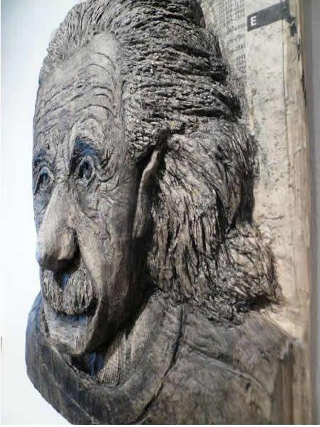 "*Paper Sculpture - ""Albert Einstein"" by Alex Queral (Phone Book Carvings)"