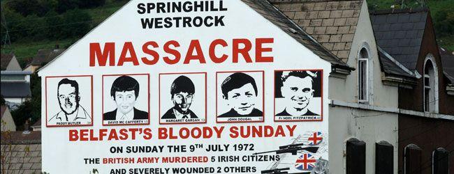 Springhill massacre mural in Belfast